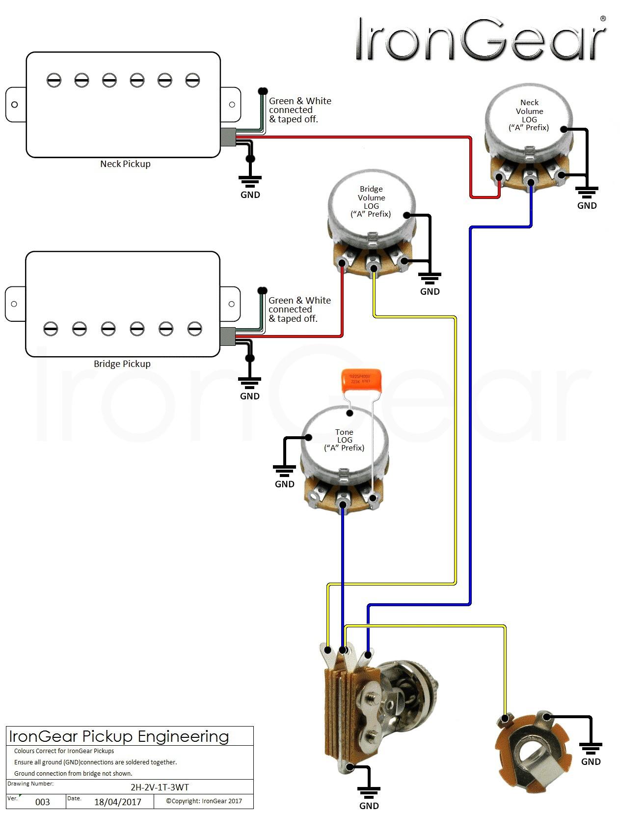Wiring Diagram 3 Pickup Guitar New 2 Humbucker 1 Volume Tone