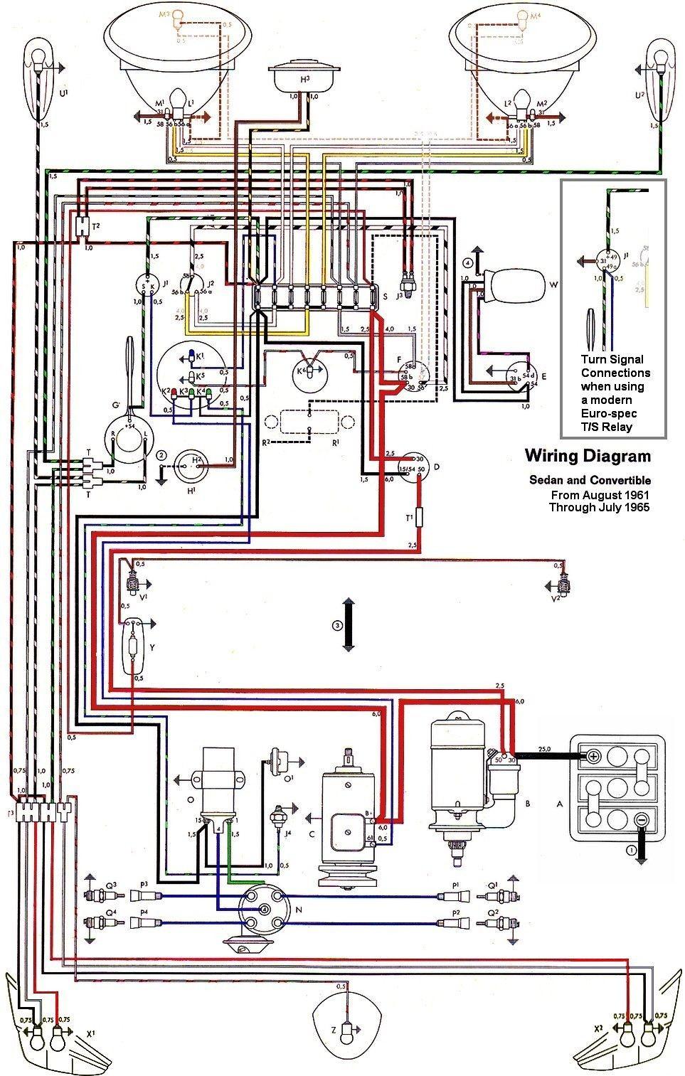 wiring diagram vw beetle sedan and convertible 1961 1965 vw rh pinterest