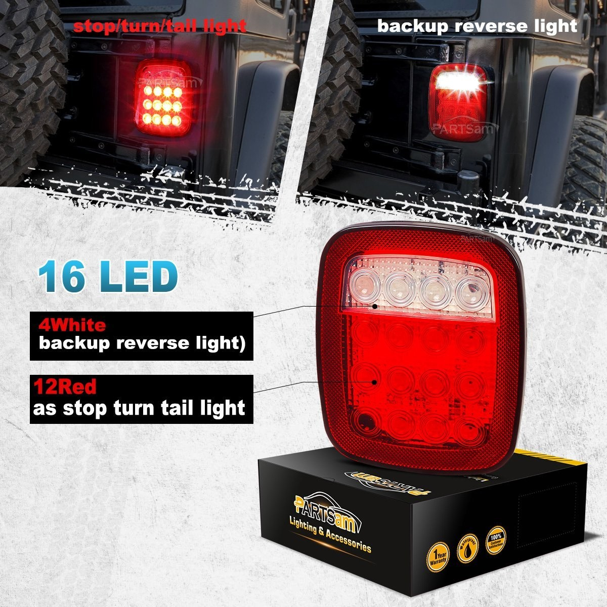 Amazon Partsam 2x Universal 16 LED Stop Tail Turn Signal Backup Reverse Brake Clearance Marker Lights Lamps Red White for Truck Trailer Jeep YJ JK CJ