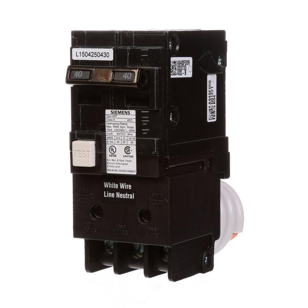 Siemens 40 Amp Double Pole Type QPF GFCI Circuit Breaker