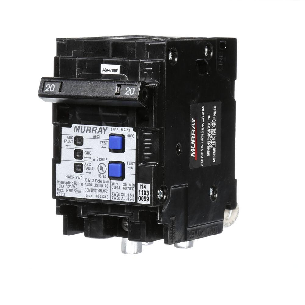 Murray 20 Amp Double Pole Type MP AT bination AFCI Circuit Breaker