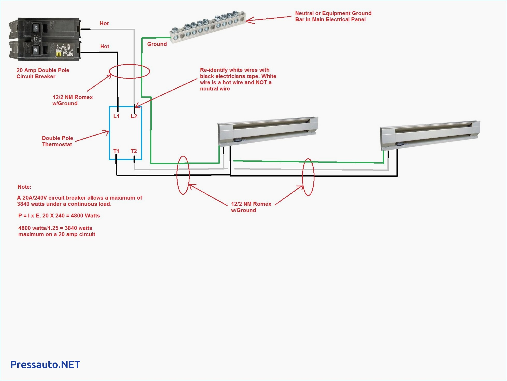 Baseboard Heater Wire Diagram Wiring Diagram Image
