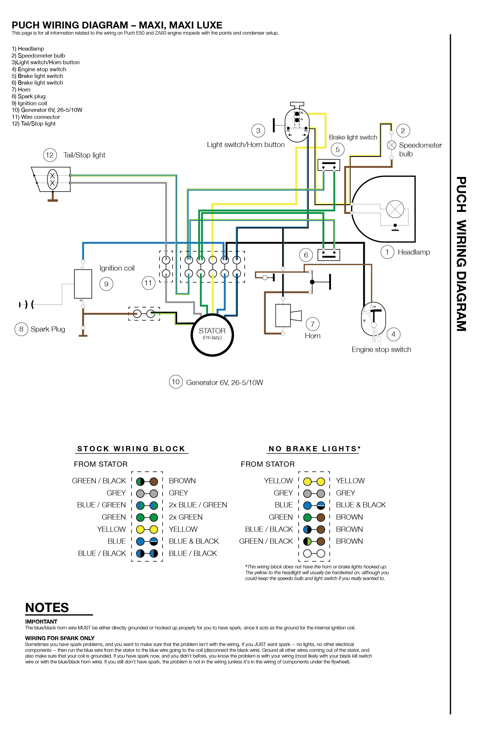 puch moped wiring diagram puch wiring diagram 1978 79 6 wire rh pinterest