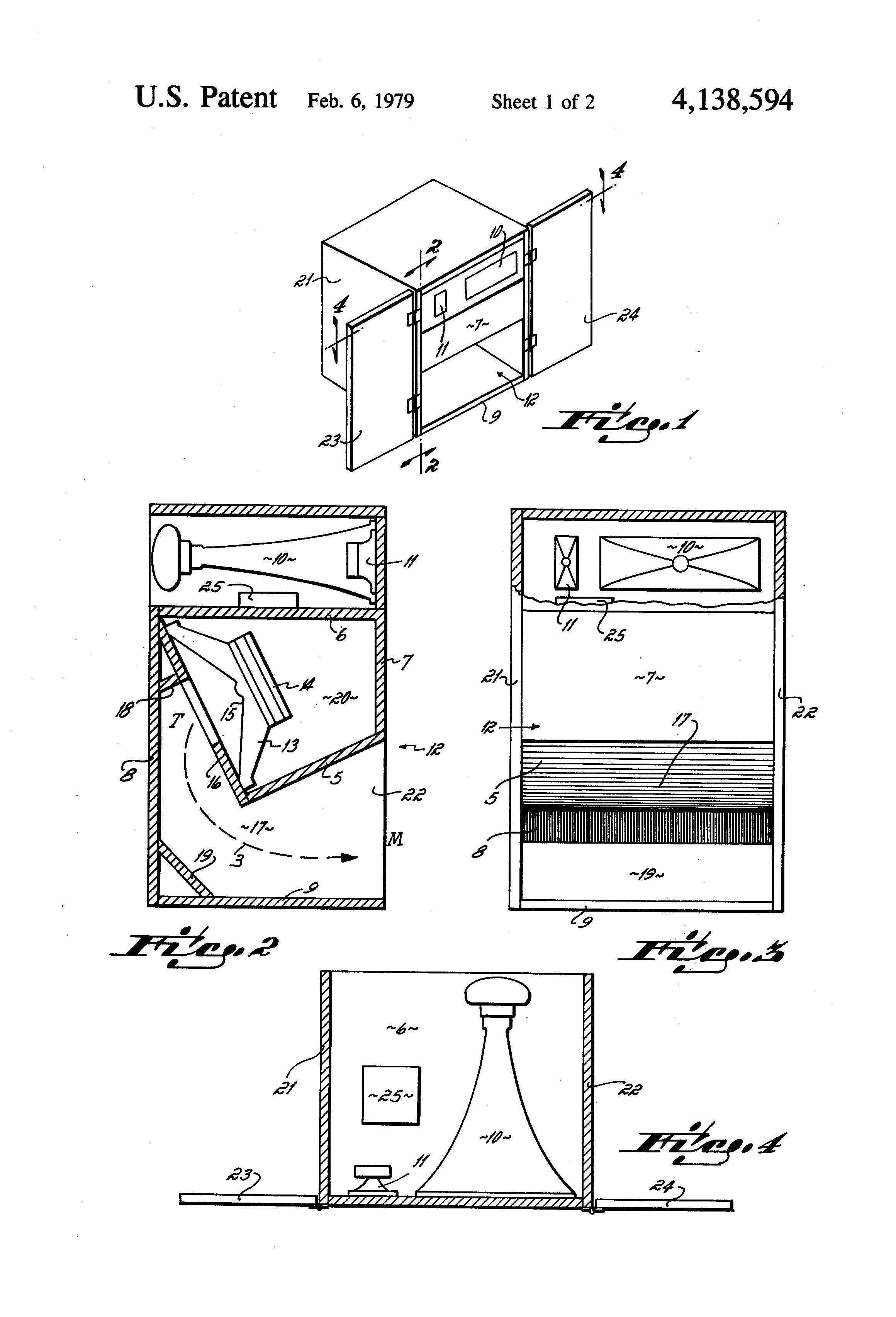 Patent US Small dimension low frequency folded exponential horn loudspeaker with