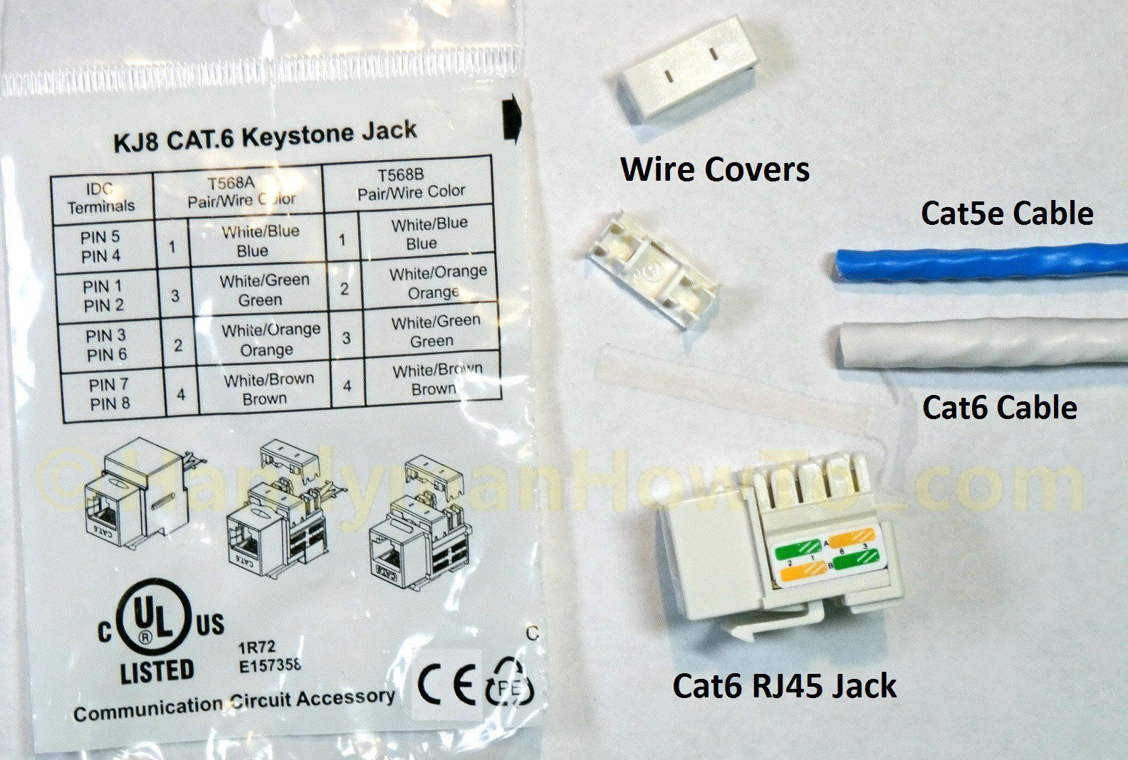 Cat5e keystone jack wiring diagram unique wiring diagram image how to wire a cat6 rj45 ethernet jack handymanhowto asfbconference2016 Choice Image