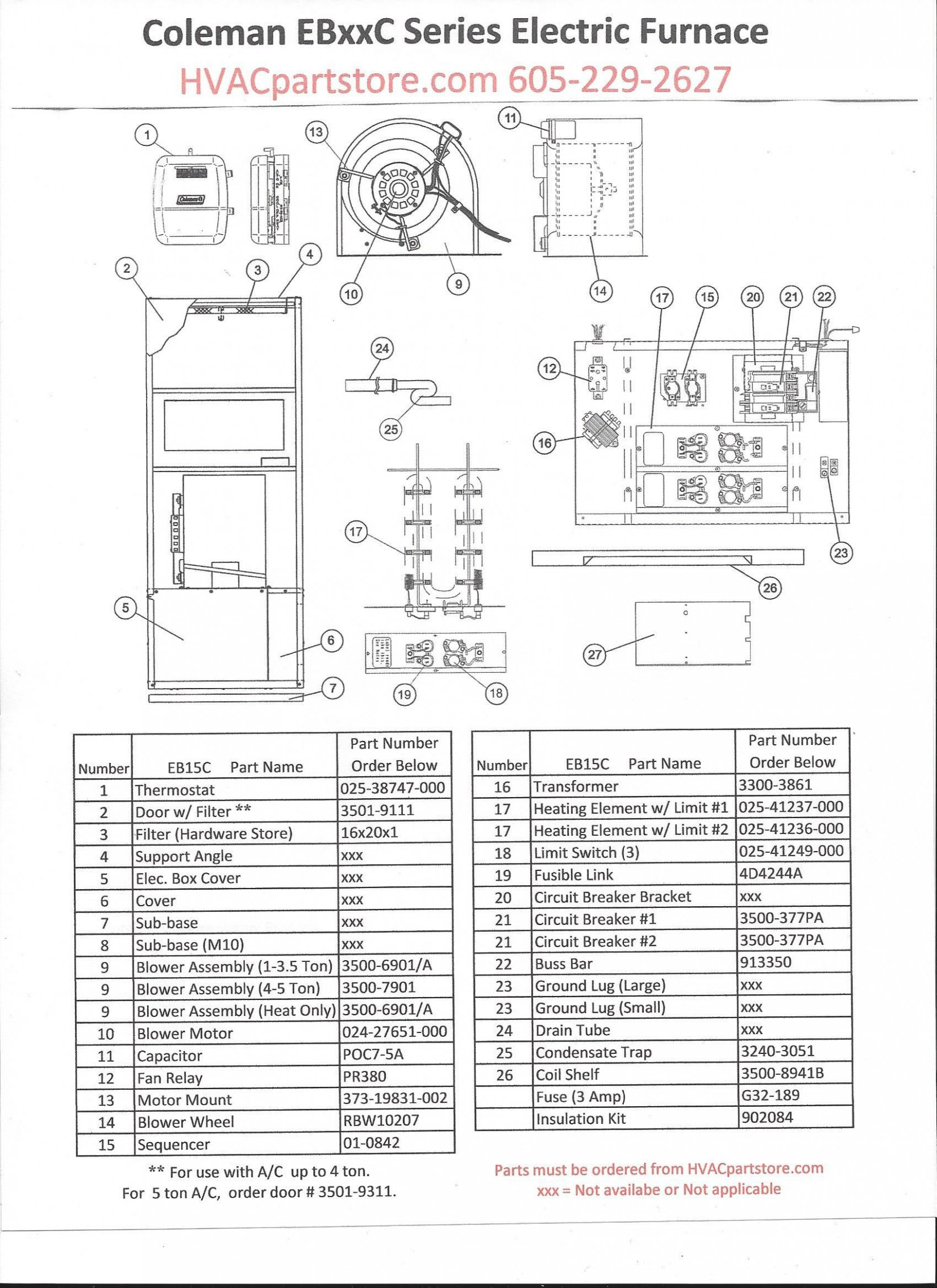 Electrical Wiring Eb27c Coleman Electric Furnace Parts