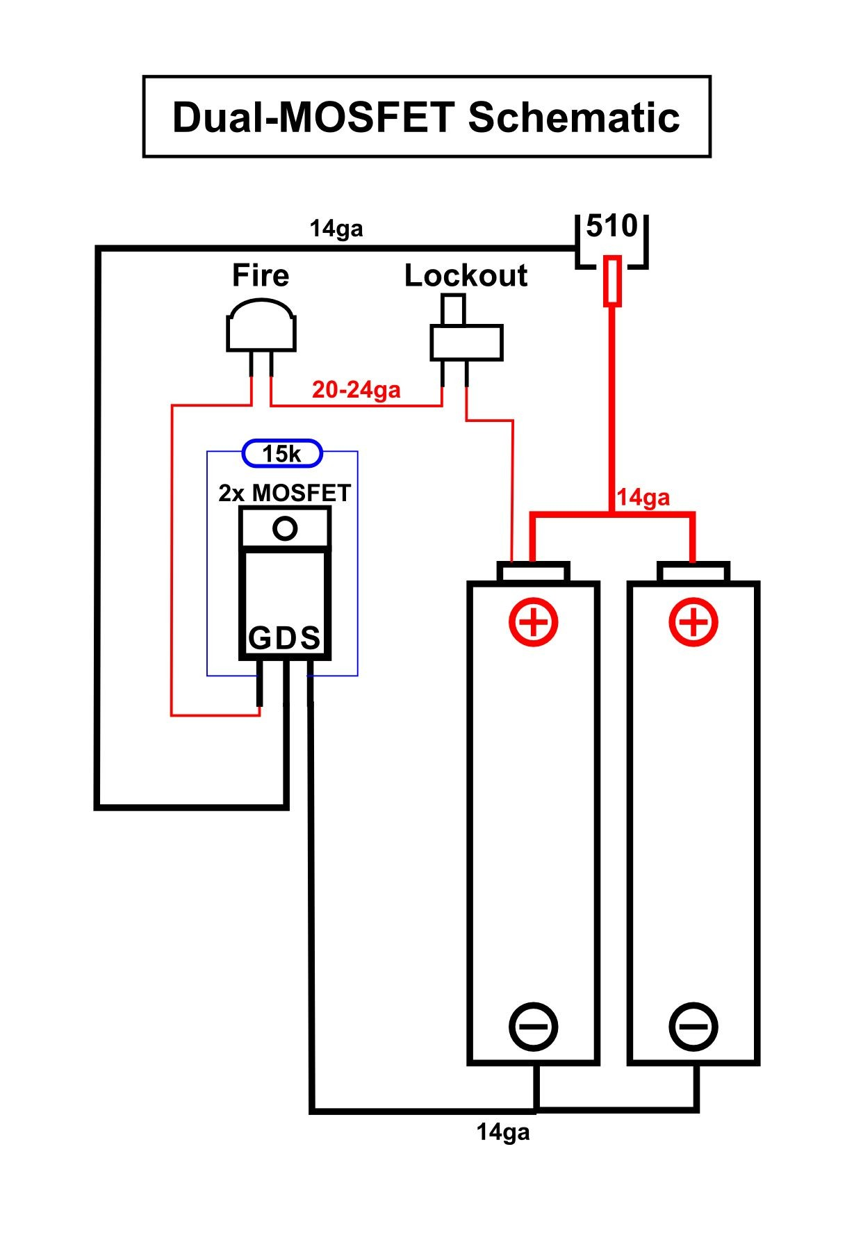 DIY Box mod Dual parallel Dual mosfet schematic