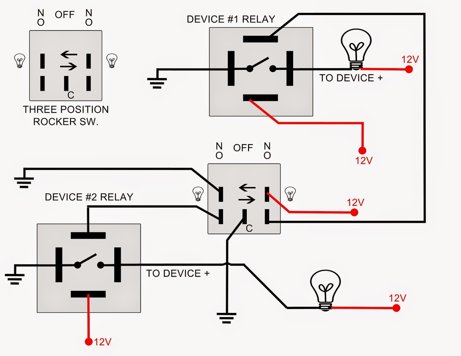 12 Volt Switch Wiring Diagram Solutions 12v Spst Relay Diagrams Schematics