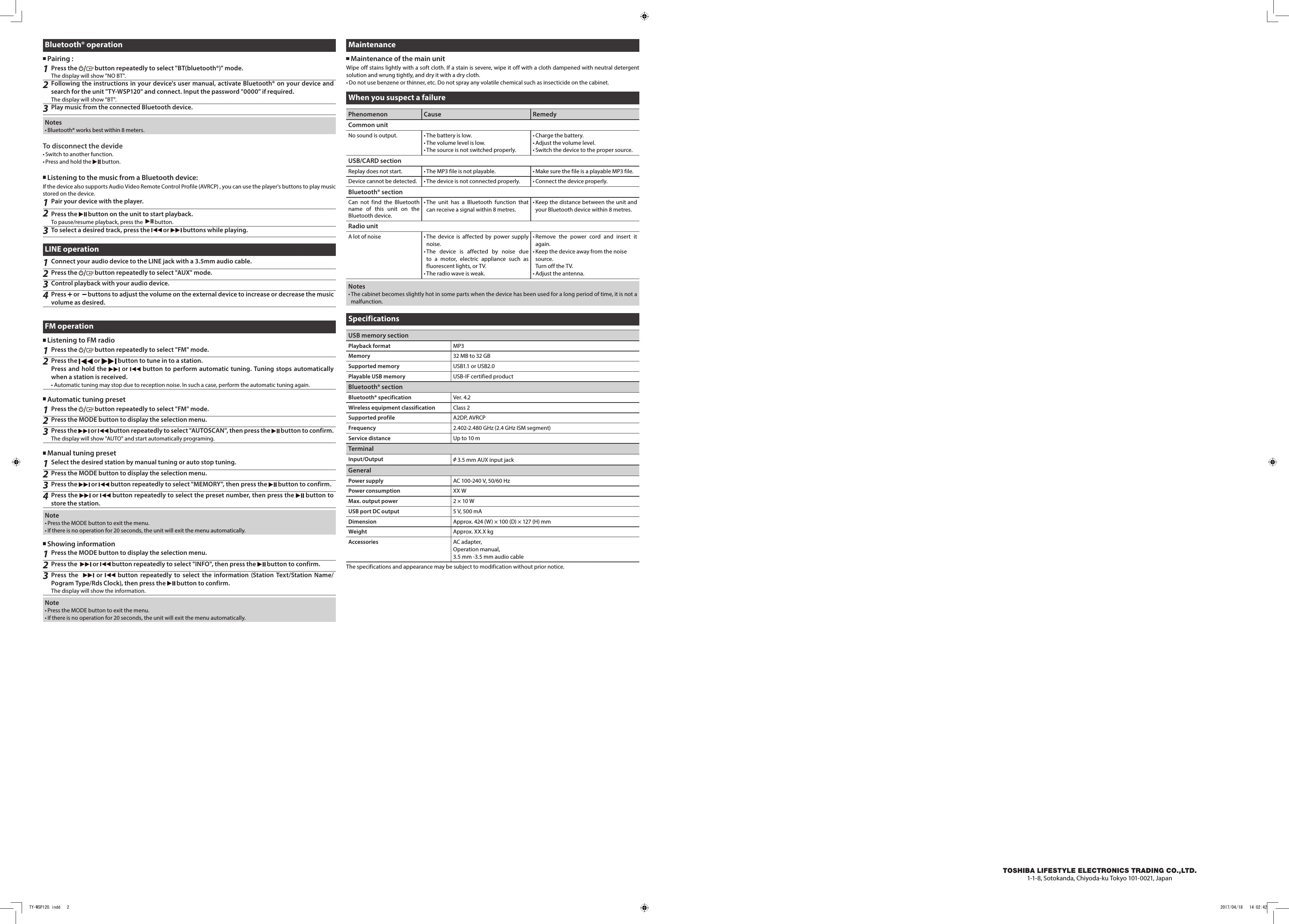 Page 2 of IB122 Wireless Speaker User Manual TY WSP120dd Zhongshan City Richsound