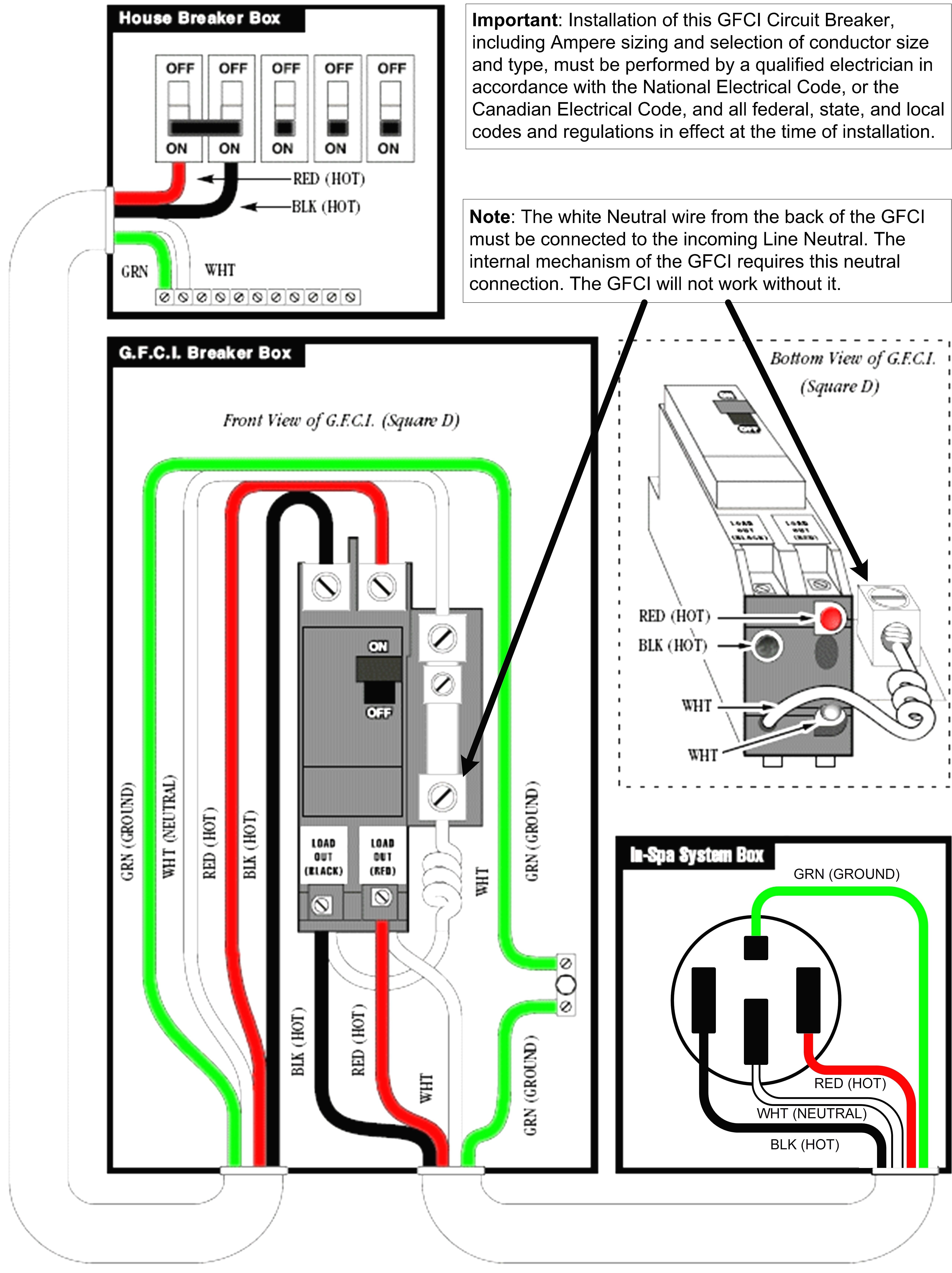 Ground Fault Circuit Interrupter Wiring Diagram Schematic Breaker