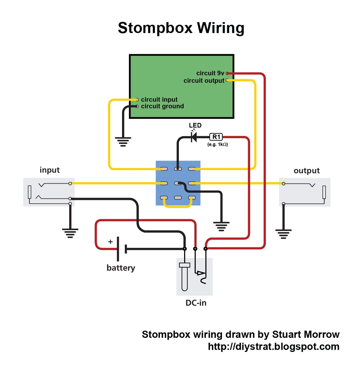 Guitar input jack wiring diagram wiring diagram image how to wire up a stomp box effects pedal diy strat and other guitar effects schematics swarovskicordoba Image collections