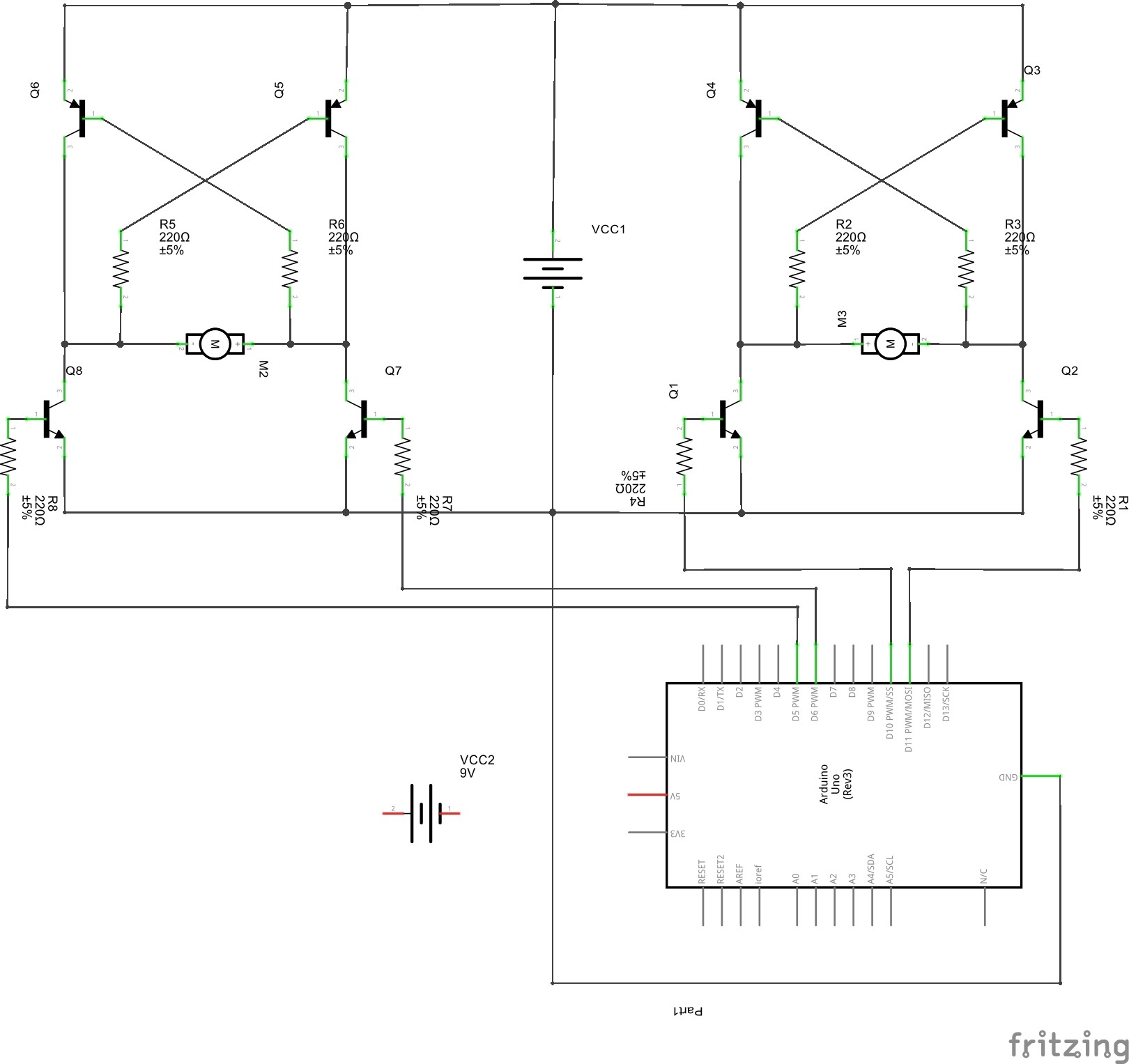 Motor Discrete H Bridge Very Low Current Output Arduino Stack Schematic Two Bridges Controlled By