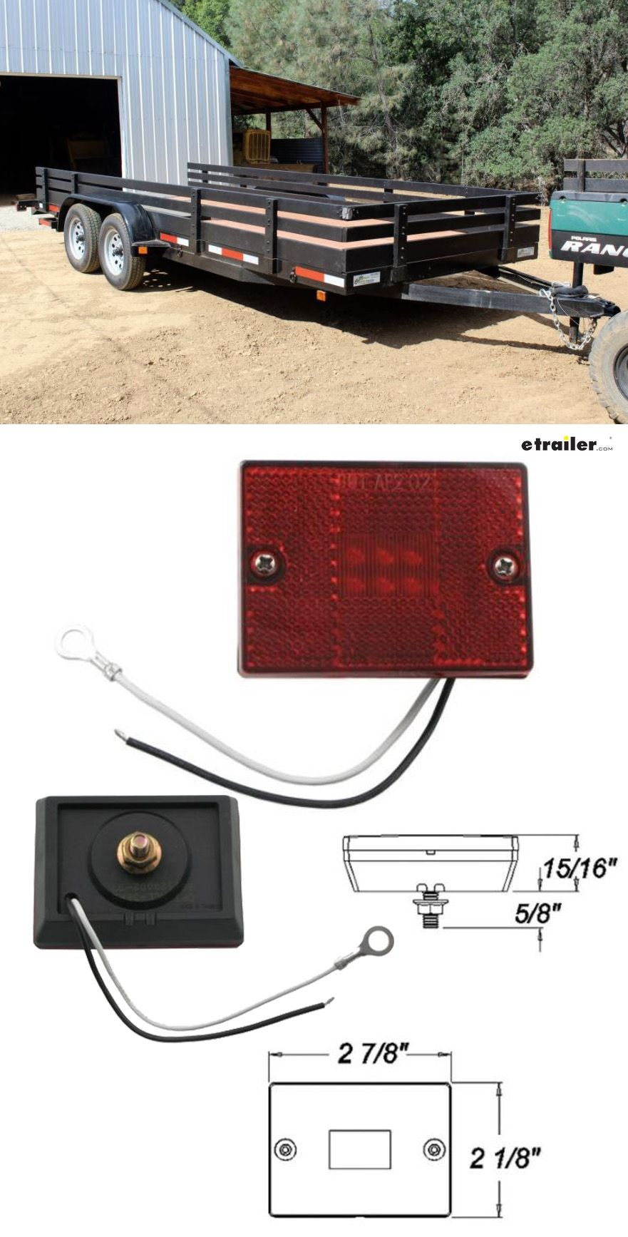Square LED Trailer Clearance Side Marker Light with Reflector Stud Mount 6 Diode Red Optronics