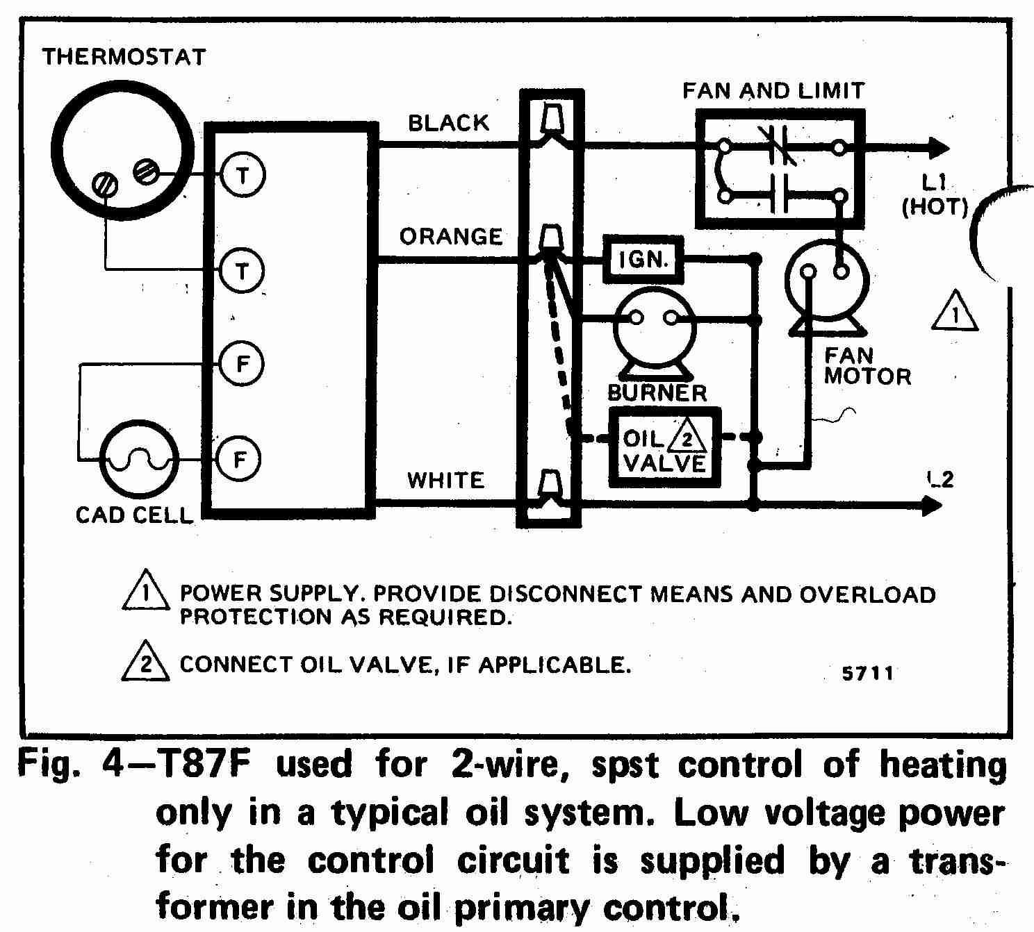 TT T87F 0002 2W DJF Thermostat Wiring Diagram