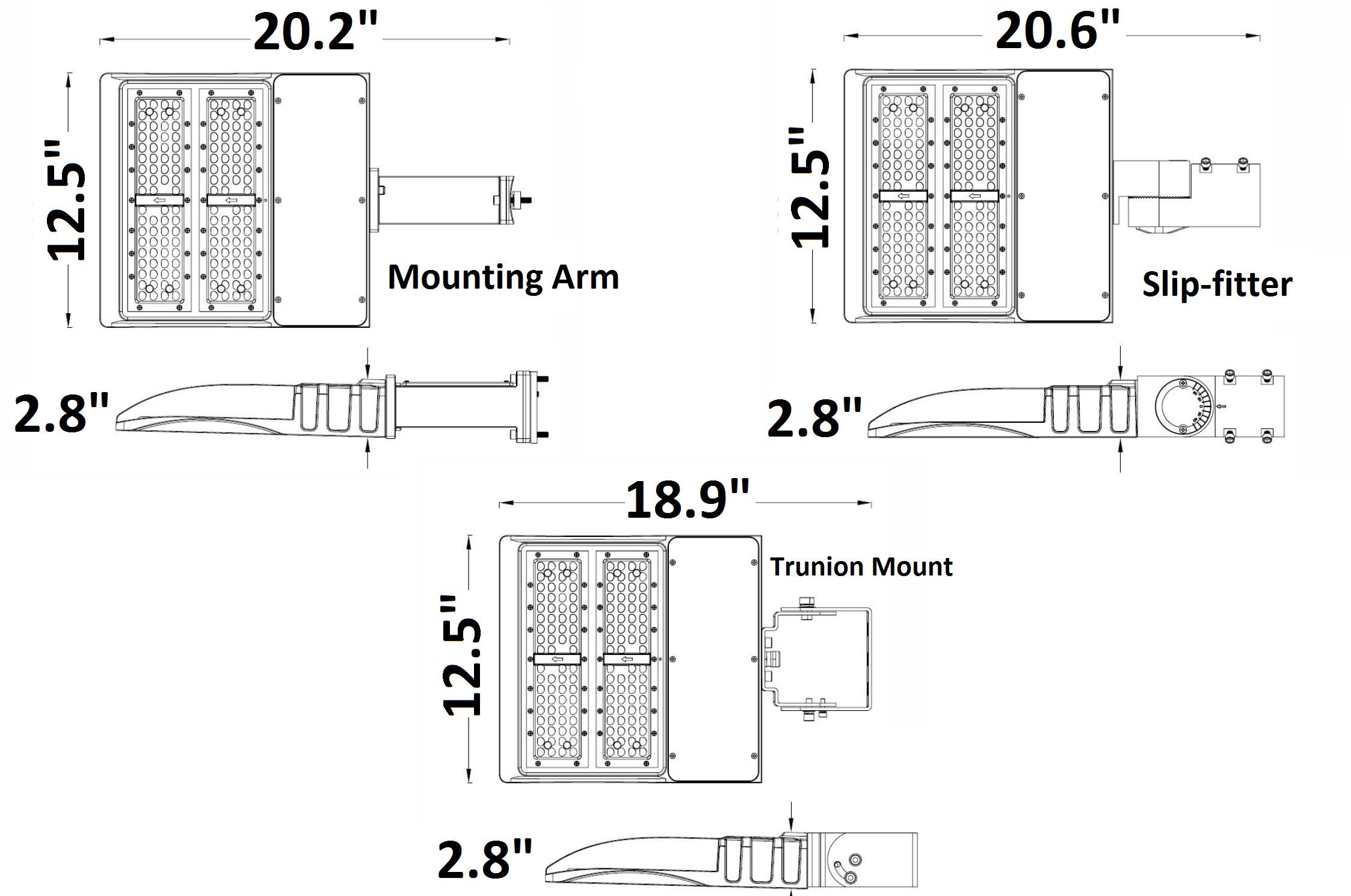 "EverWatt 60W Slim Modular LED Shoe Box Pole Light Fixture 7 320 7 498lm ""Razor Series"""
