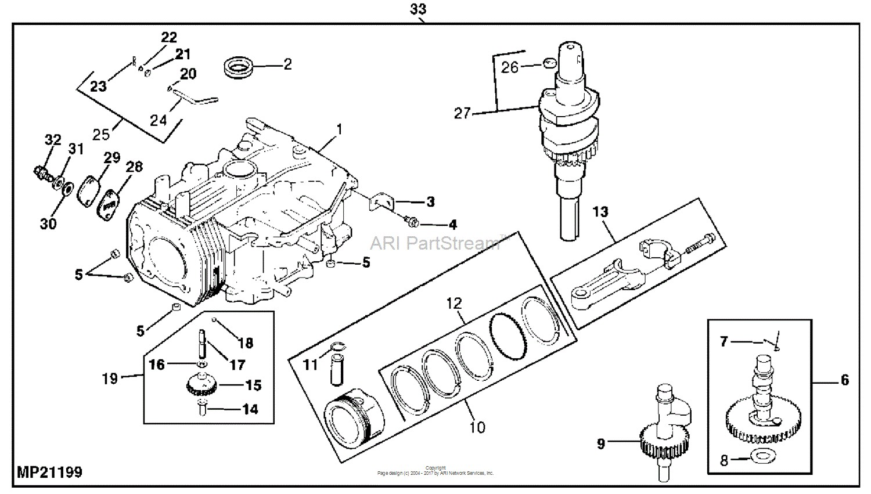 John Deere Parts Diagrams John Deere LT155 Lawn Tractor Without Mower Deck PC2607 ENGINE & SHORT BLOCK ENGINE