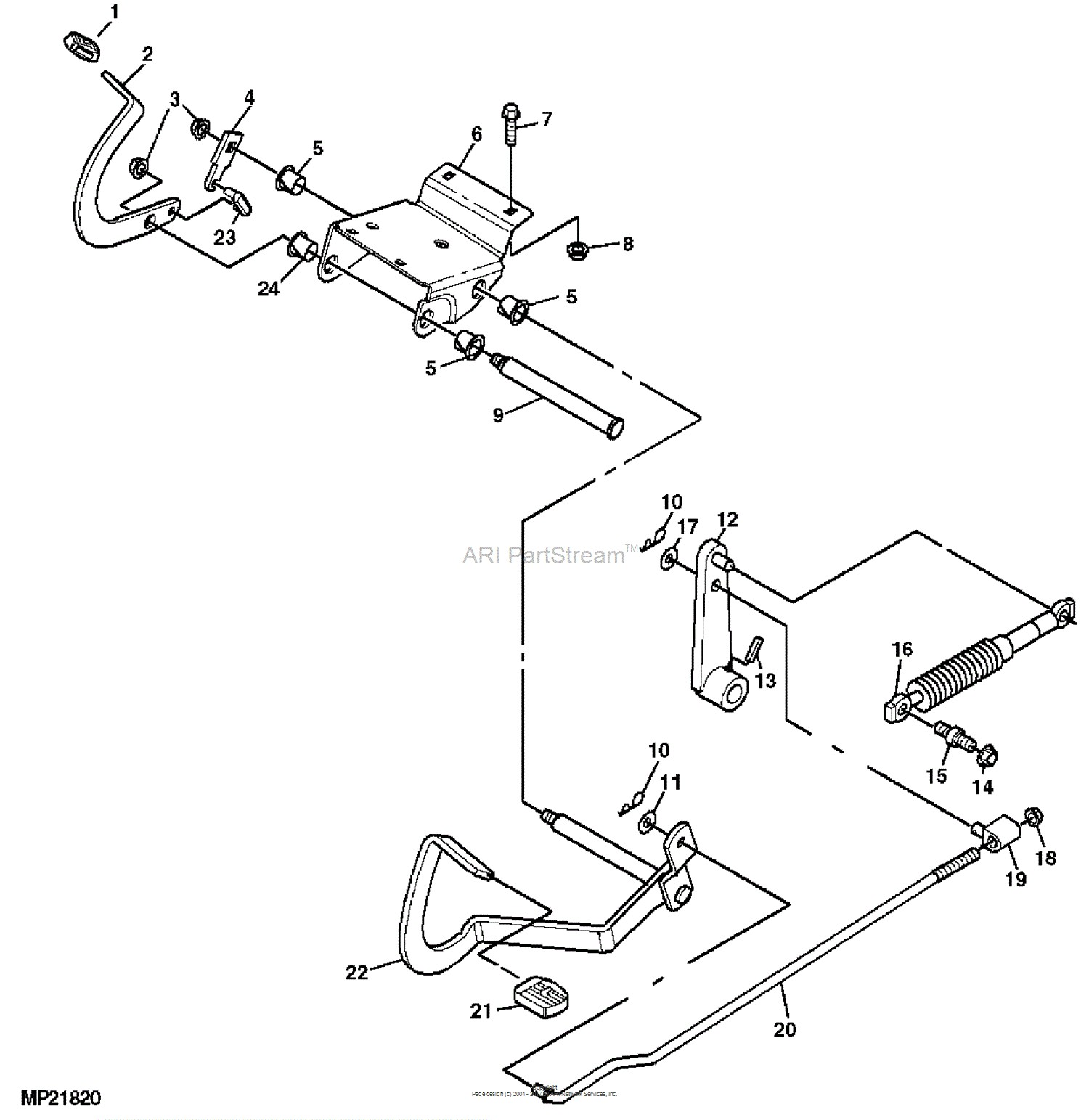 John Deere Parts Diagrams John Deere LT155 Lawn Tractor With 38 IN Mower Deck PC2607 FORWARD & REVERSE PEDALS AND LINKAGE STEERING AND BRAKES