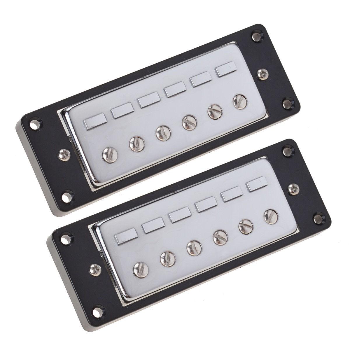 Kmise Mini Humbucker Guitar Pickups Bridge and Neck Parts Chrome & Black Frame