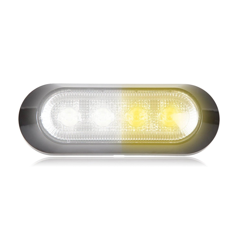 "Amazon Maxxima M WYCL 4 LED White Amber Clear Ultra 0 9"" Thin Profile Warning Strobe Light Automotive"