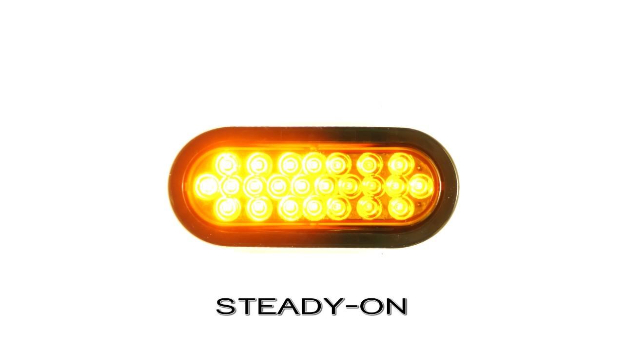 "Oval LED Strobe Truck and Trailer Lights 6"" LED Lights w 24 High Flux LEDs 3 Pin Connector"