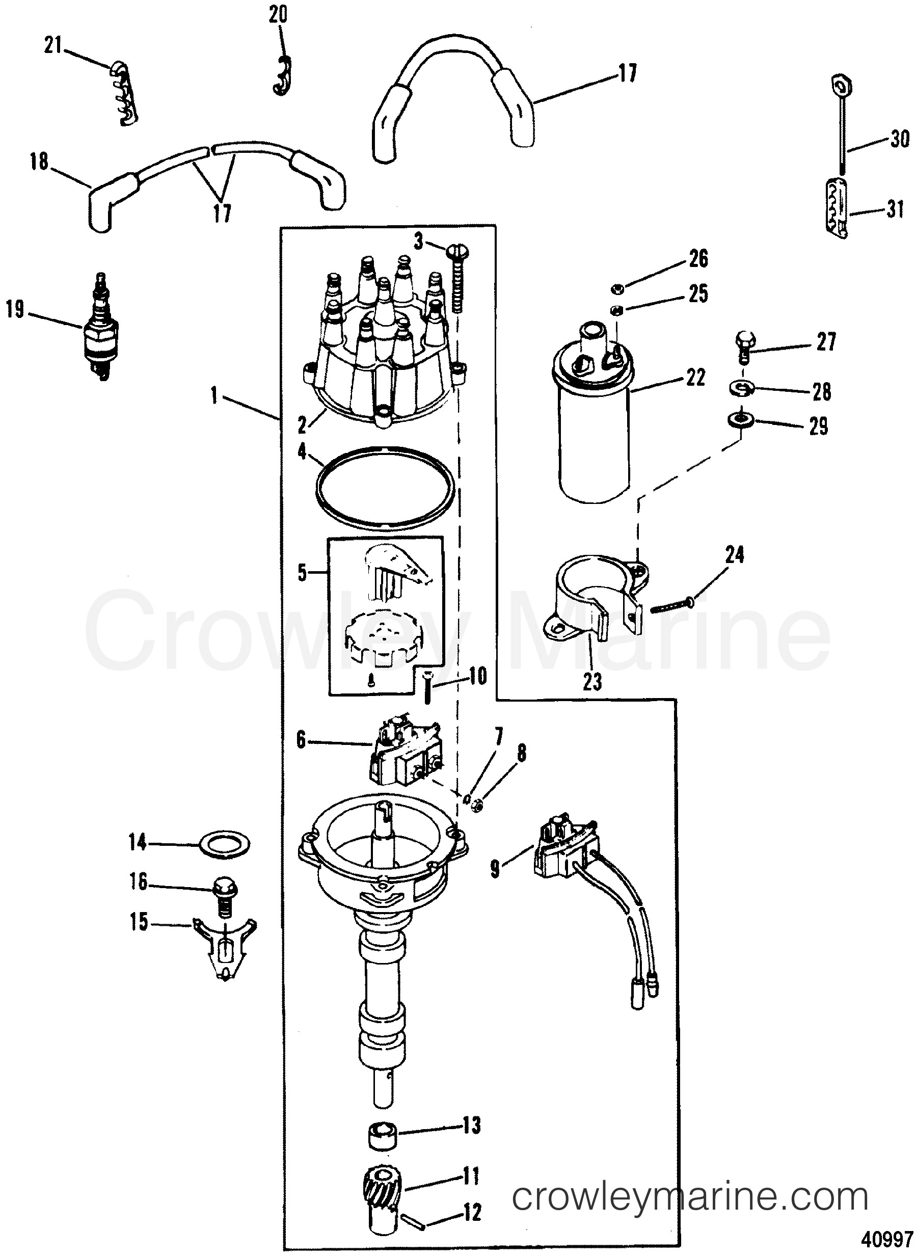 1988 Mercury Inboard Engine 5 7L [SKI] AS DISTRIBUTOR & IGNITION PONENTS