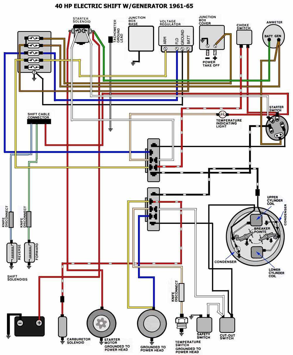 1961 1965 Evinrude 40HP Selectric Wiring Diagram