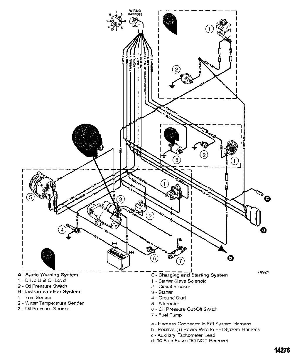 MERCRUISER 262 MAGNUM EFI TBI Wiring Harness Engine