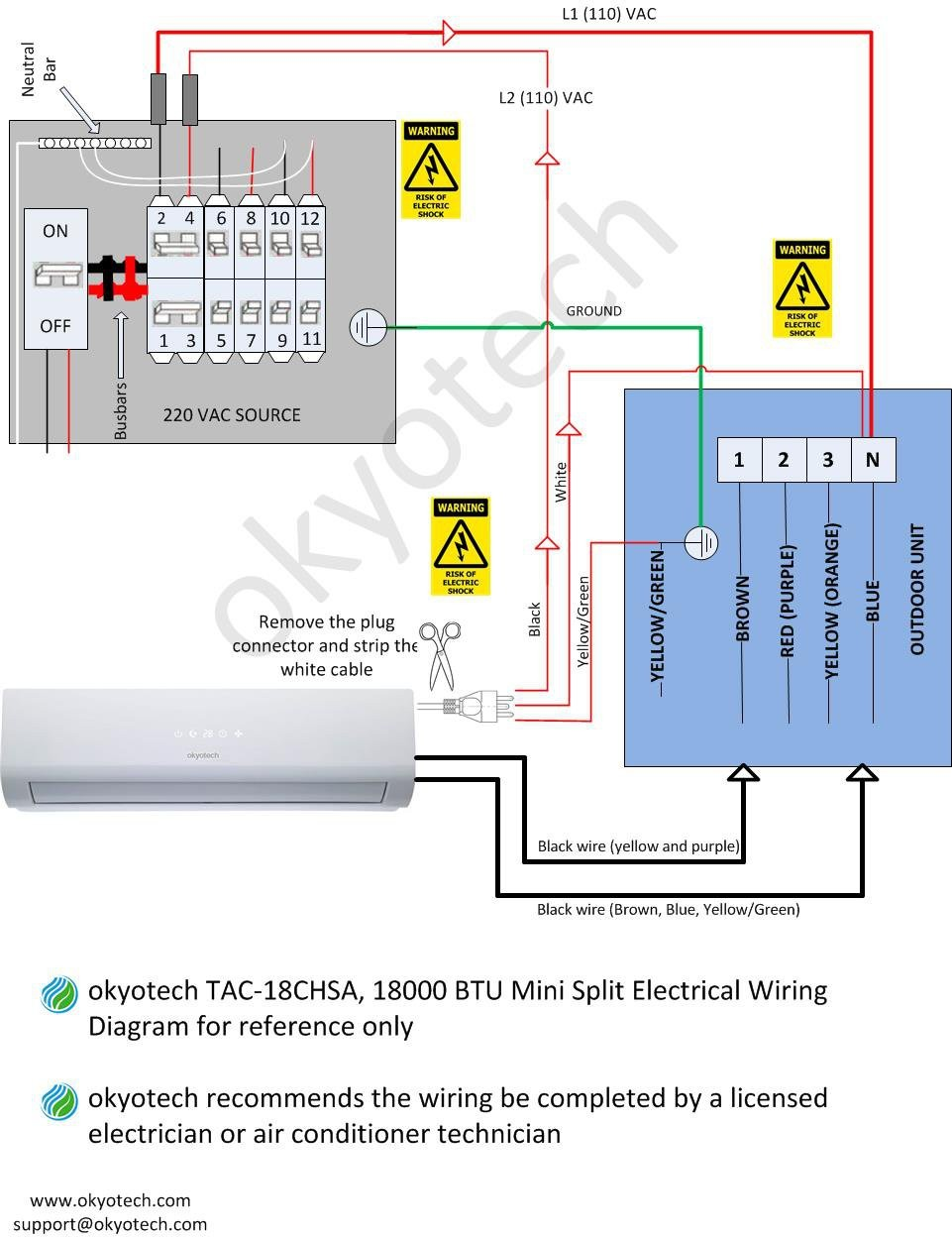 Split System Air Con Wiring Diagram Okyotech Minictless Conditioner Cooling Heating In And