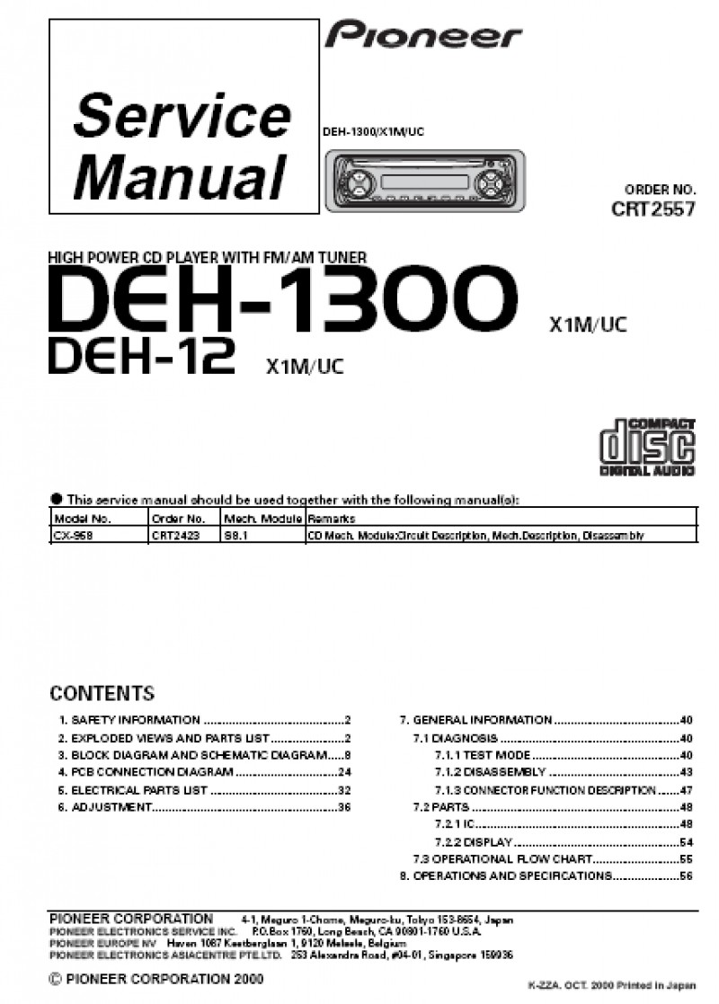 Pioneer Deh 1300mp Wiring Diagram In Wirdig At 1300Mp