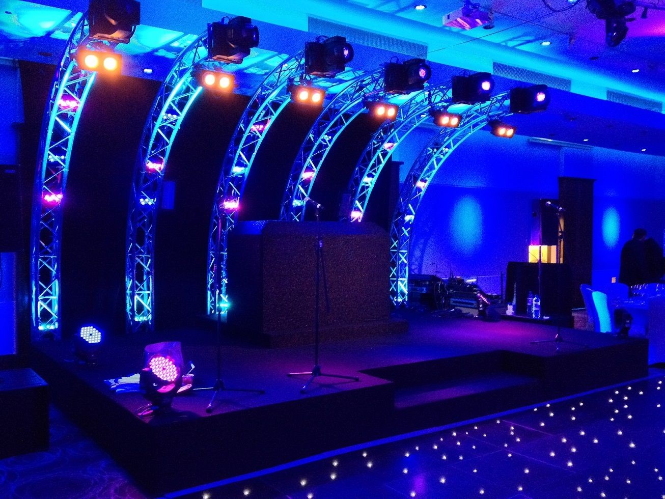 A Barmitzvah in Avenue Banqueting London Nice truss curves with moving light fixtures as the