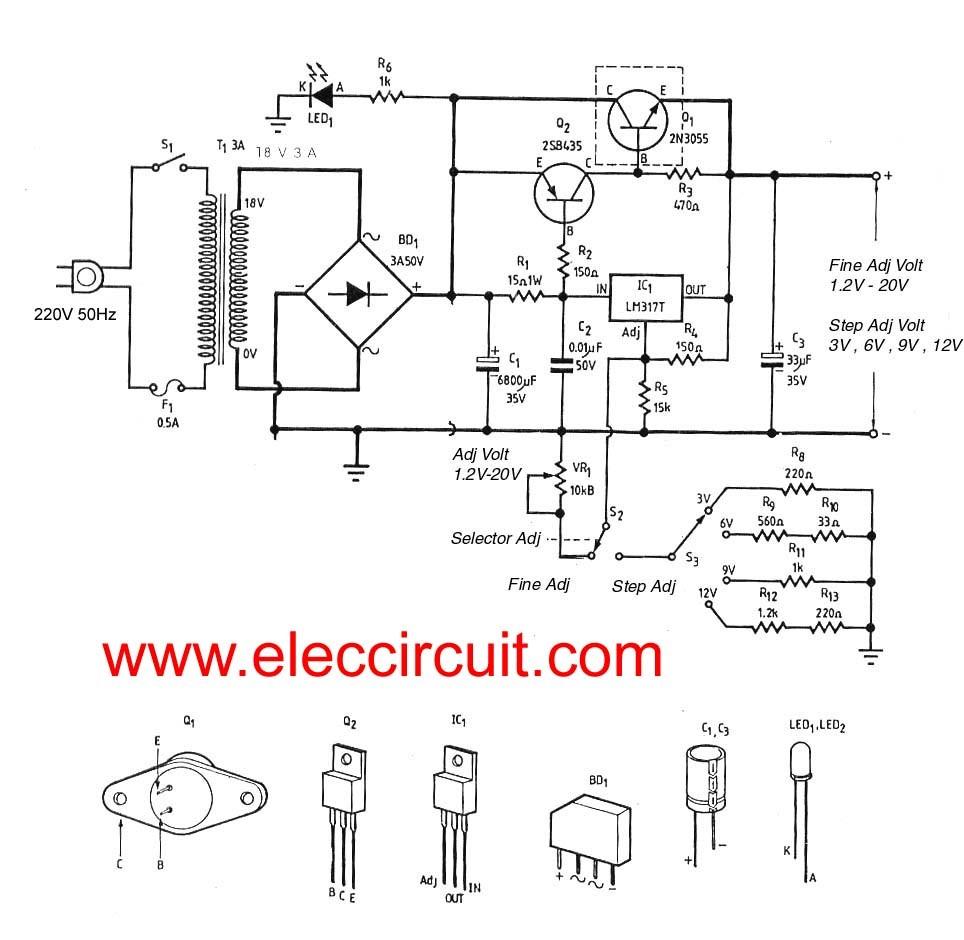 3A adjustable voltage regulator circuit with PCB Eleccircuit