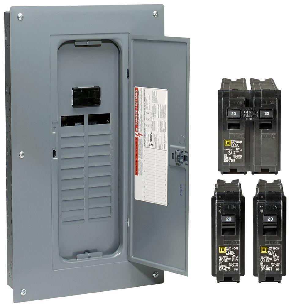 Homeline 100 Amp 20 Space 40 Circuit Indoor Main Breaker Qwik Grip Plug