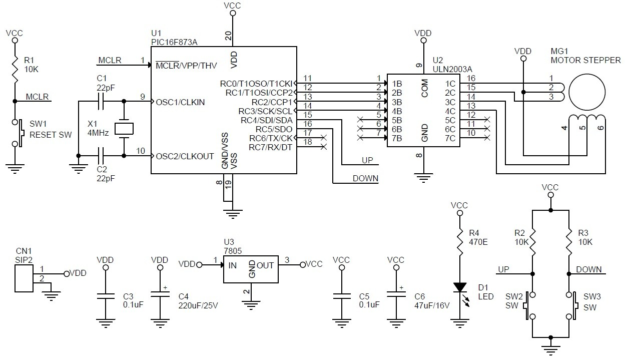 unipolar stepper motor driver schematic using pic16f873 and