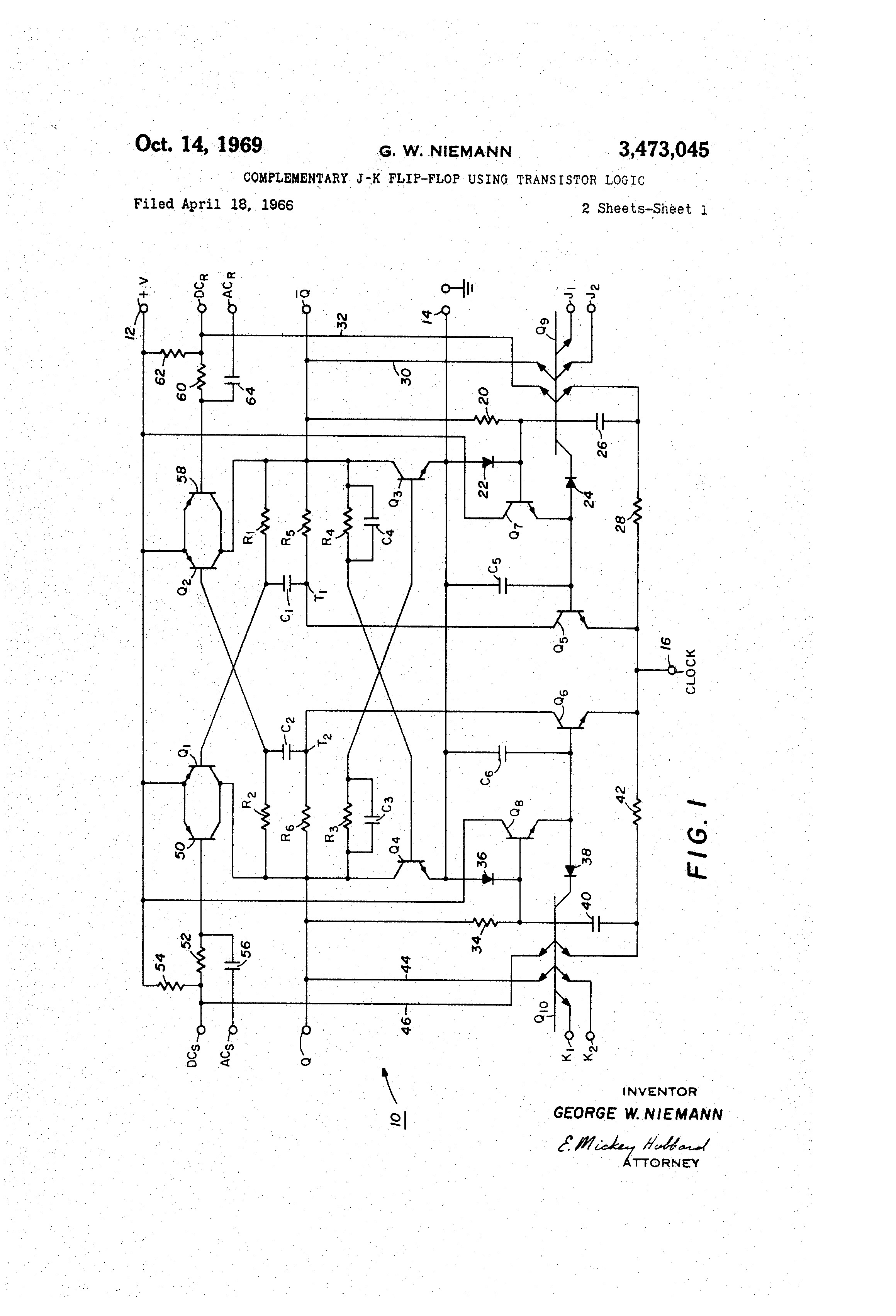T Flip Flop Circuit Diagram Wiring Image Logic For Ponent Schematic Patent Us Plementary J K Using Transistor Circu