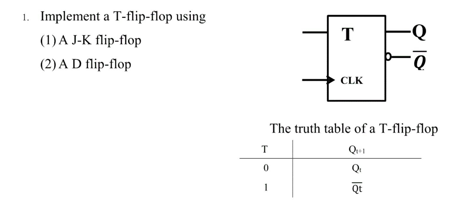 que Implement A T Flip Flop Using J K D Code Fe C Full size