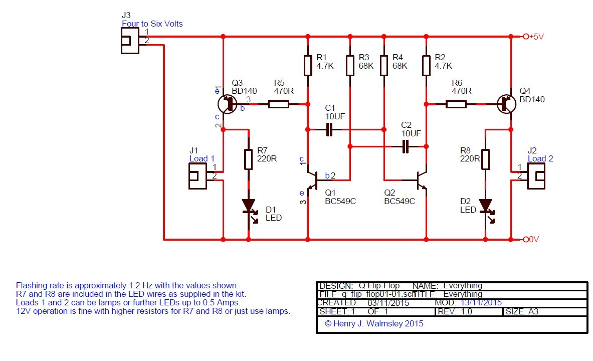 Alternate flashing light flip flop schematic