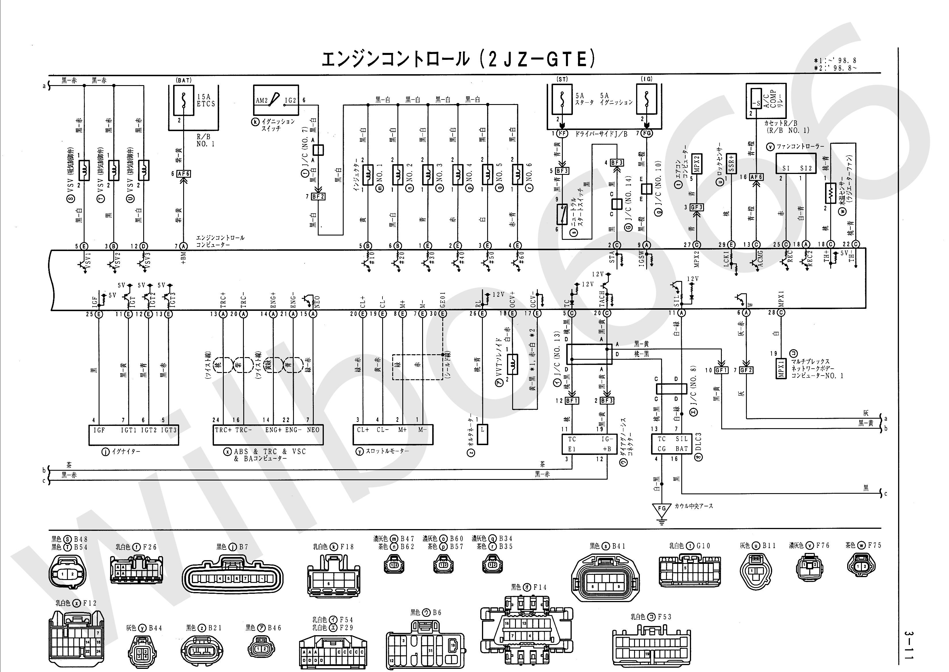 JZS161 Toyota Aristo 2JZ GTE VVTi Wiring Diagrams