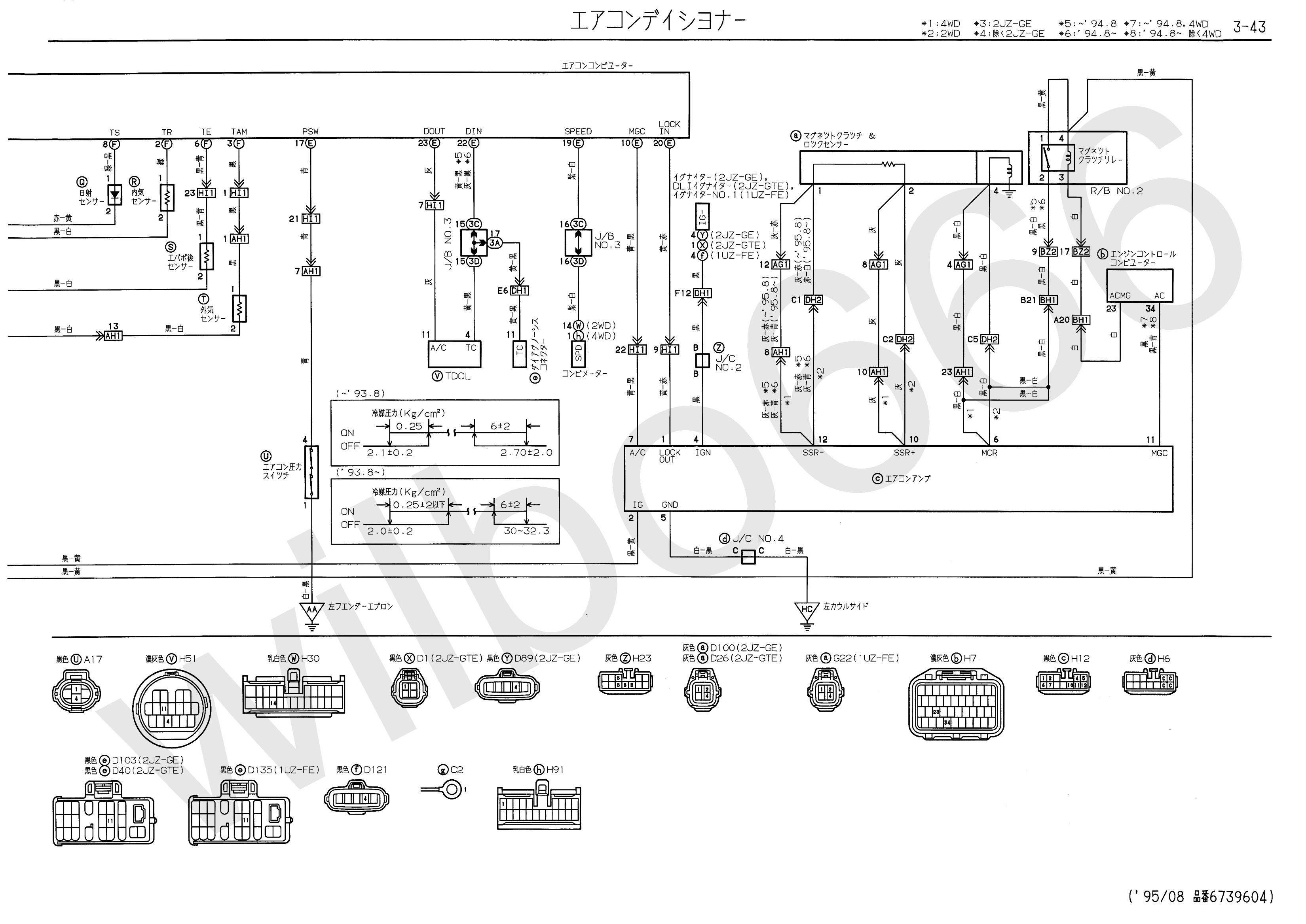 JZS147 Toyota Aristo 2JZ GTE NSW & STA Wiring Diagram