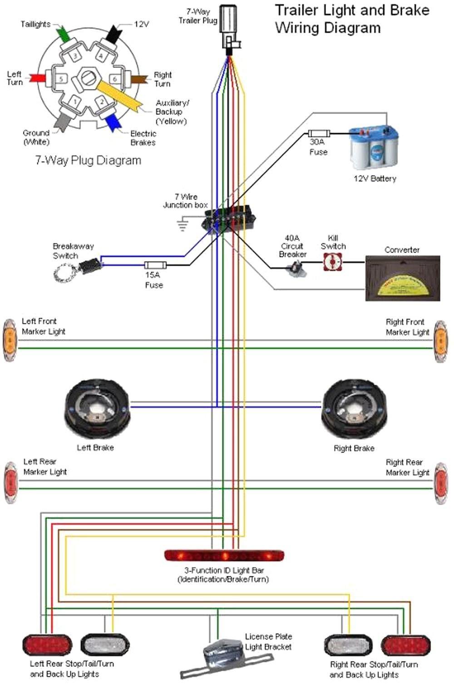 7 Pin Trailer Plug Diagram Wiring Harness Wire Boat Pole Connector Bright