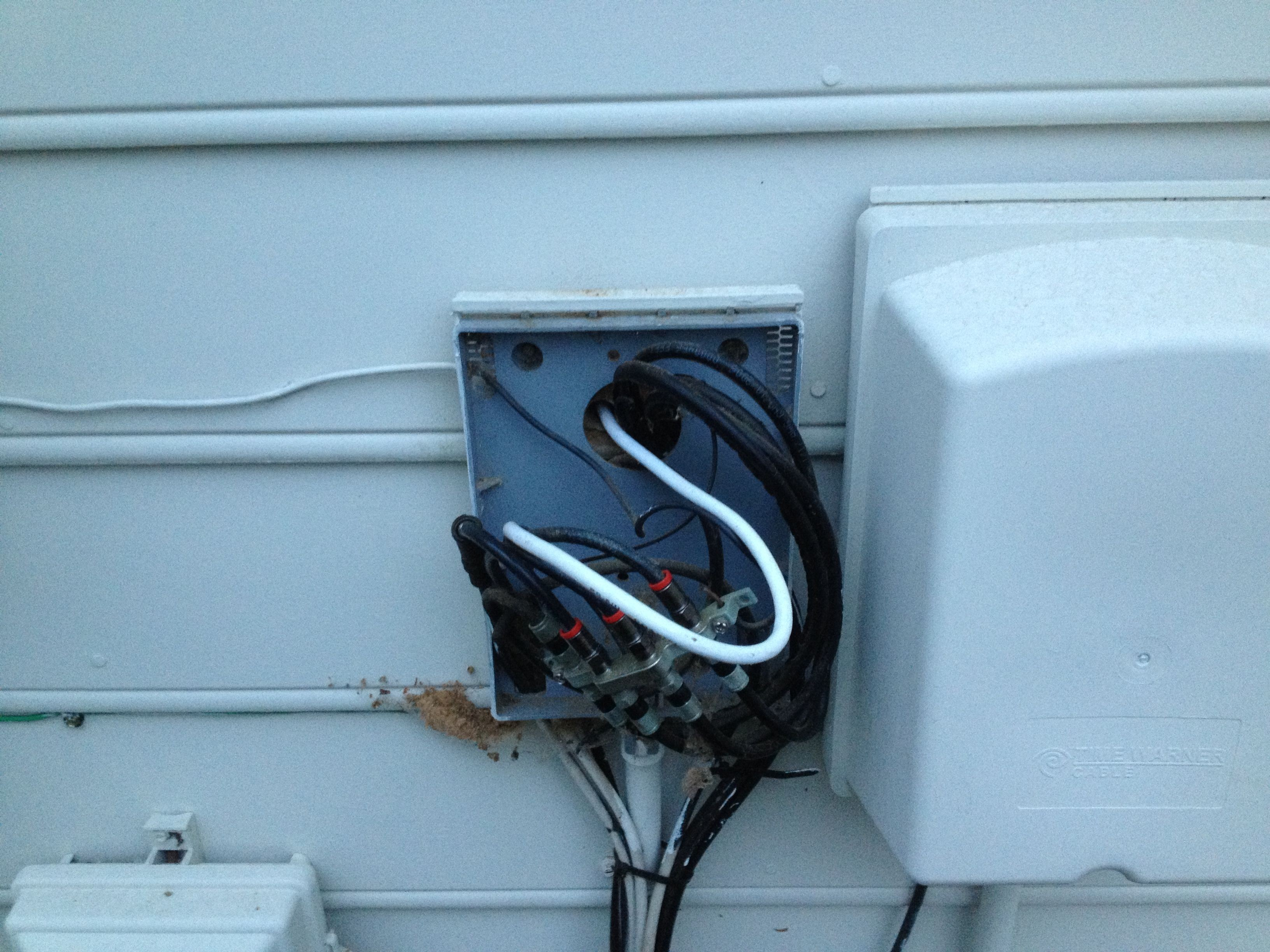 Cable jack installation for additional DirecTV receiver with bathroom TV wall mount installation