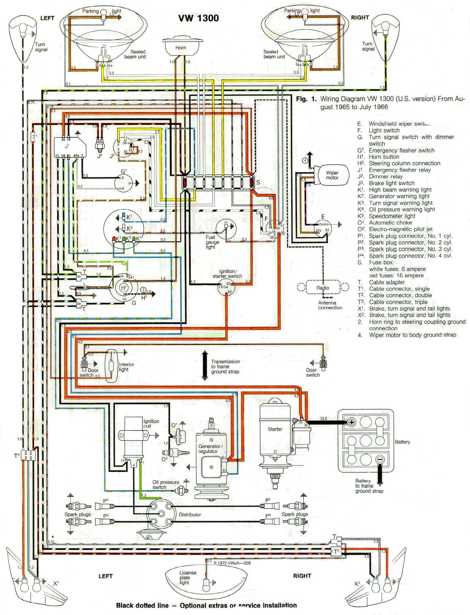 1966 Wiring Diagram 1965 Vw Bug Wiring 7 At VW Bug Wiring Harness
