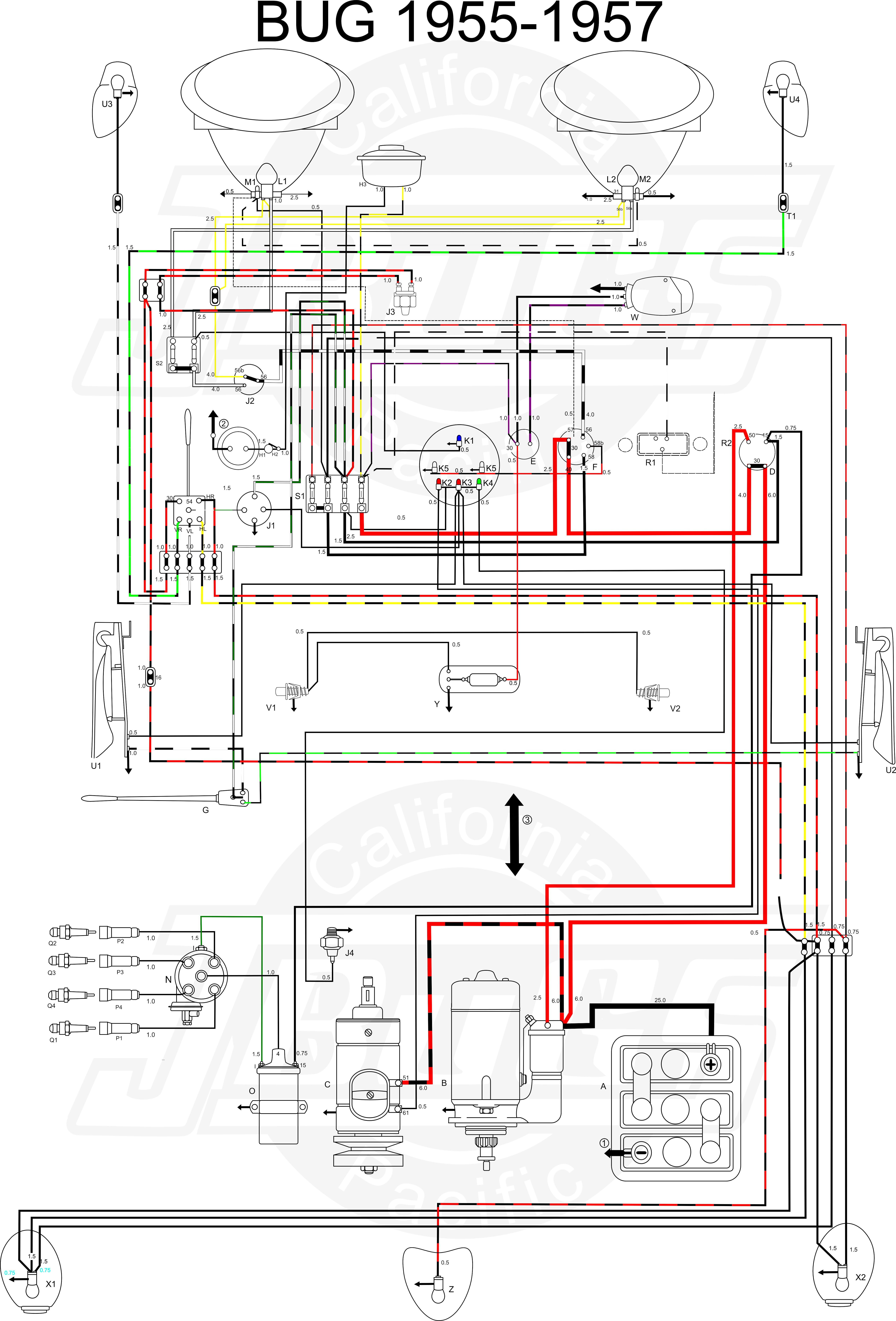 Vw Tech Article 1955 57 Wiring Diagram VW Wiring Diagram 1965 Vw Bug Wiring