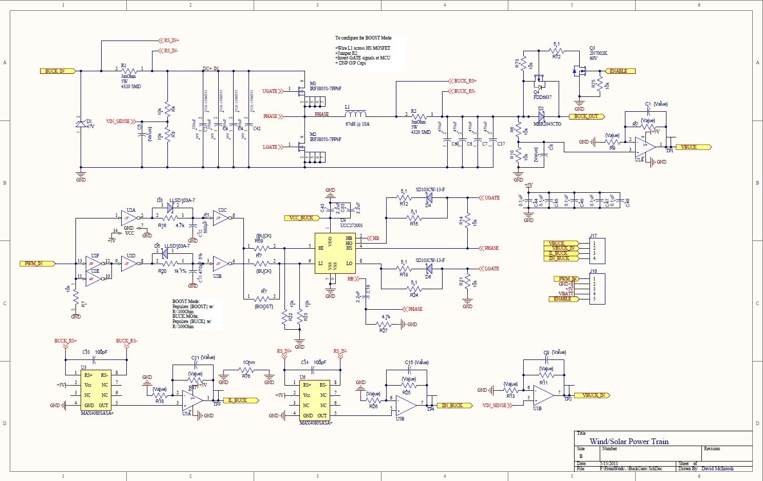 The power section is on the top part of the schematic sheet and the signal and sensing on the bottom part The buck converter starts with a 47V varistor