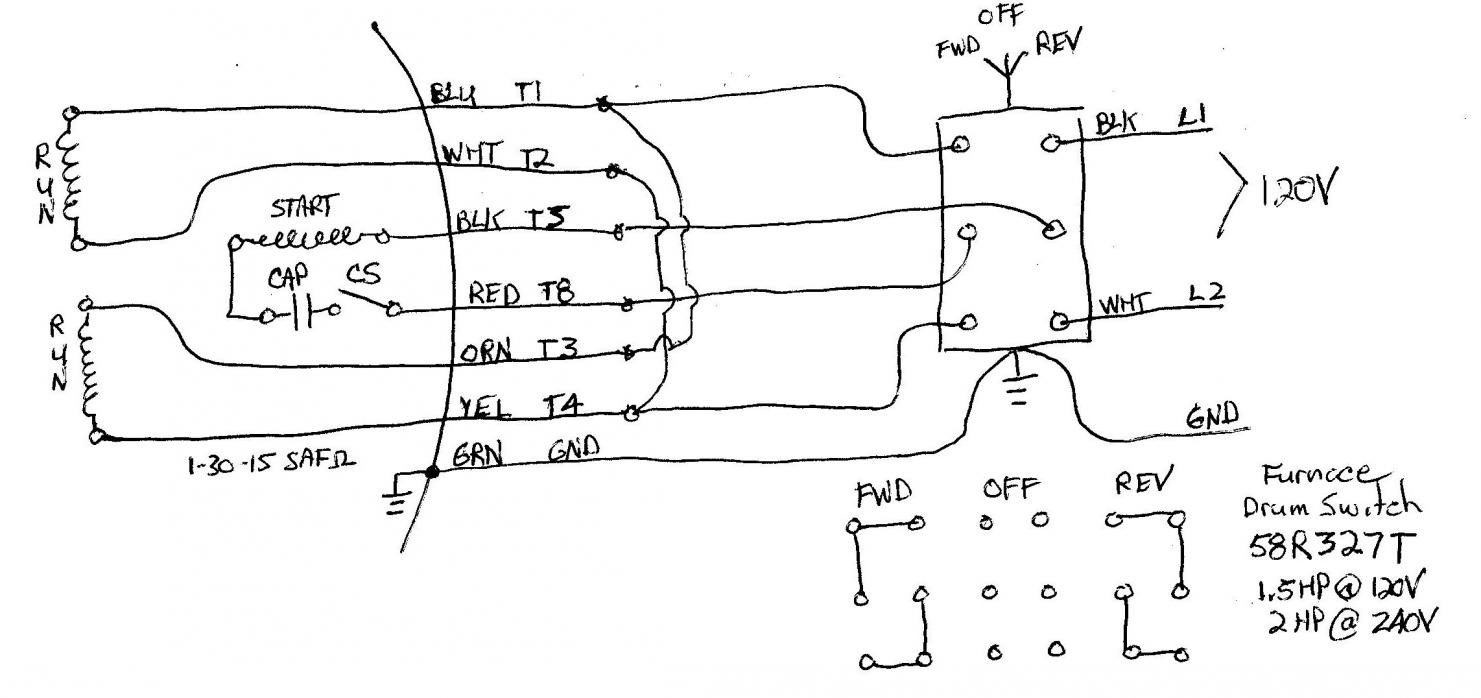 wiring a single phase motor to drum switch within forward reverse rh teenwolfonline org