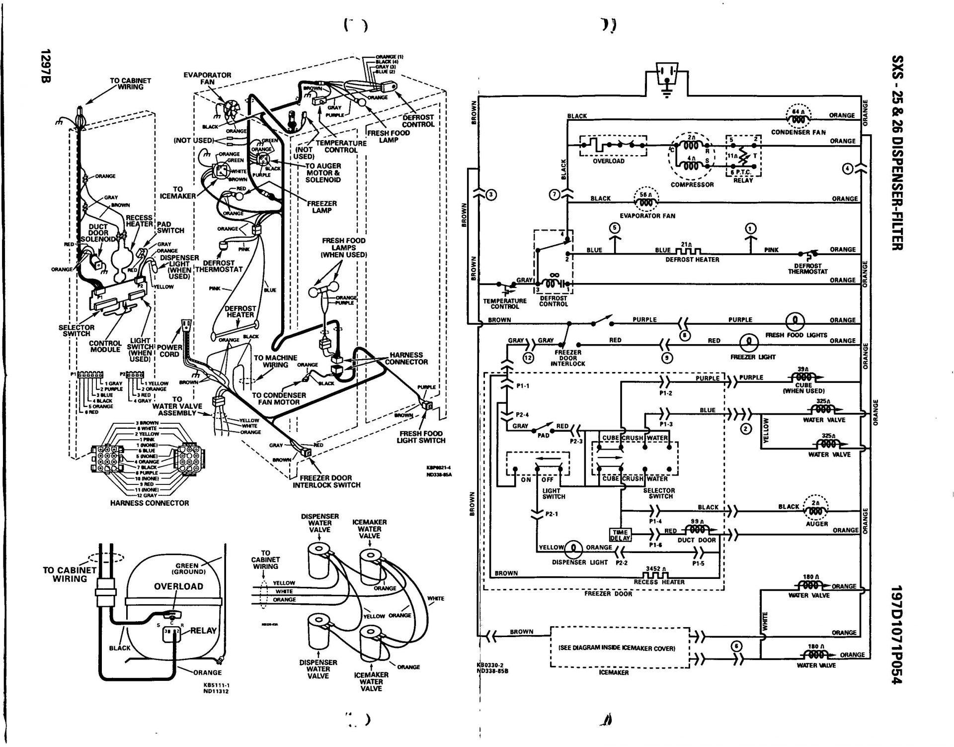 Ge Wiring Diagrams Refrigerator Diagram Side By Refrigerators Throughout In For Kenmore Dryer Motor