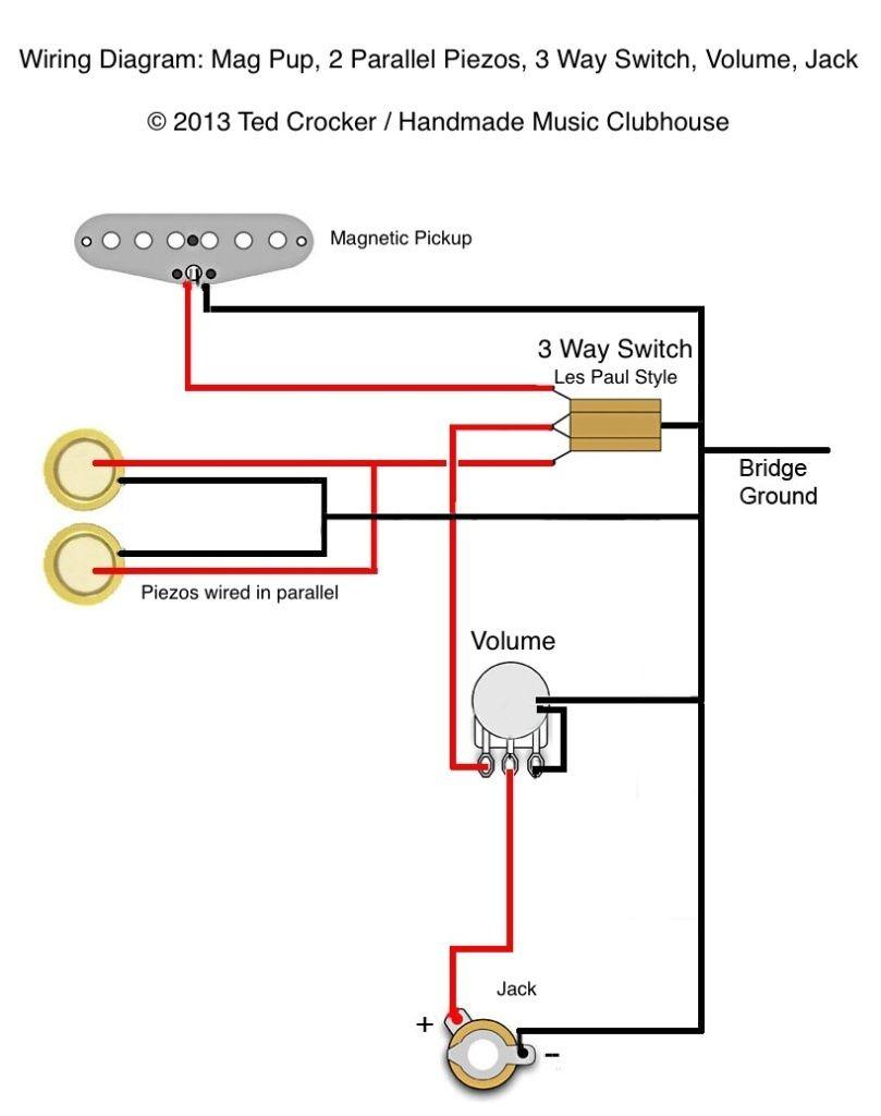 Wiring Diagram Cigar Box Guitar Diagrams 1 Pickup No Volume Pinterest Mag 2 Piezo 3 Way Vol