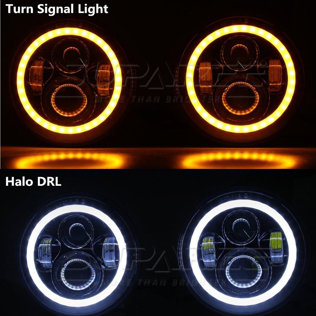 "Amazon 7"" LED Headlights with DRL Halo Ring 4"" LED Fog Lights for Jeep Wrangler JK CJ TJ LJ Automotive"