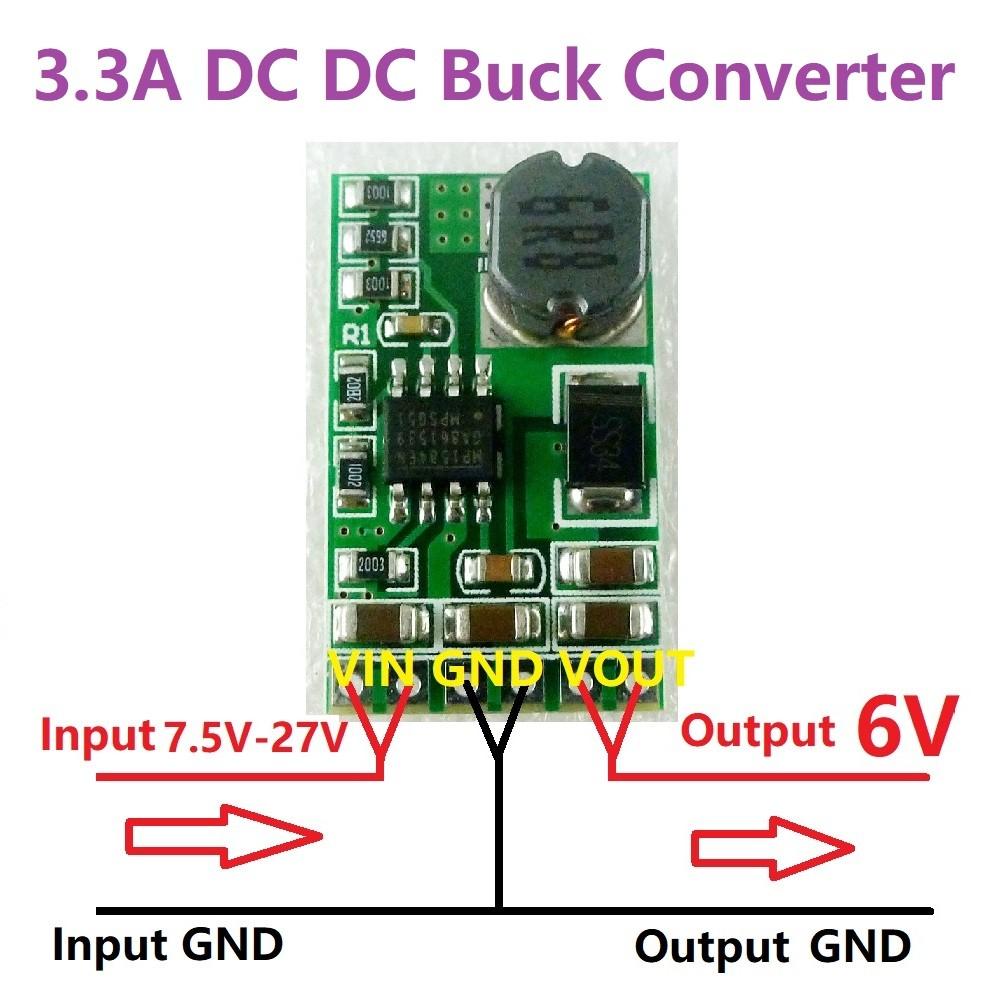 3 3A mini size High PowerDC 9V 12V 15V to 6V dc dc power