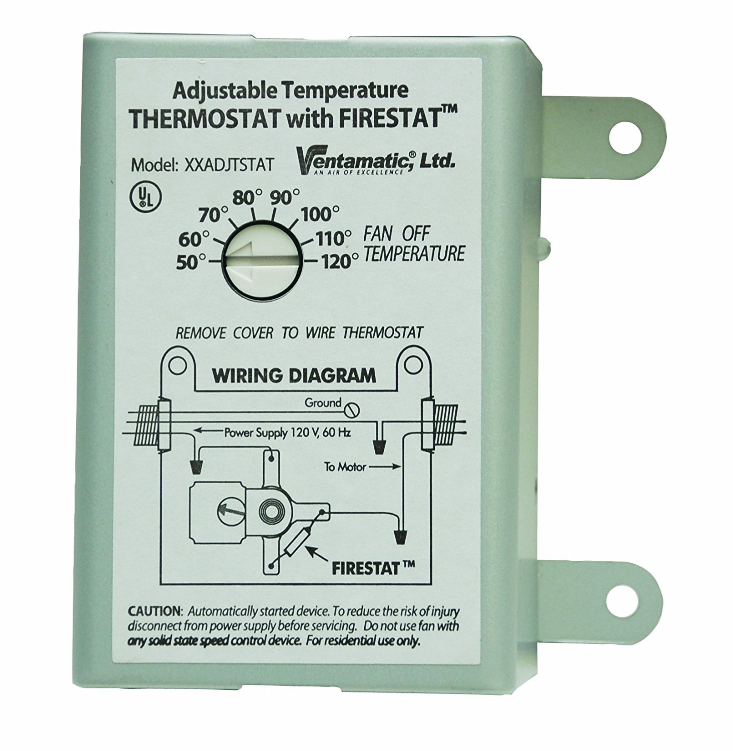 Ventamatic XXFIRESTAT 10 Amp Adjustable Programmable Thermostat with Firestat for Power Attic Ventilators Replacement Thermostat Vents Amazon