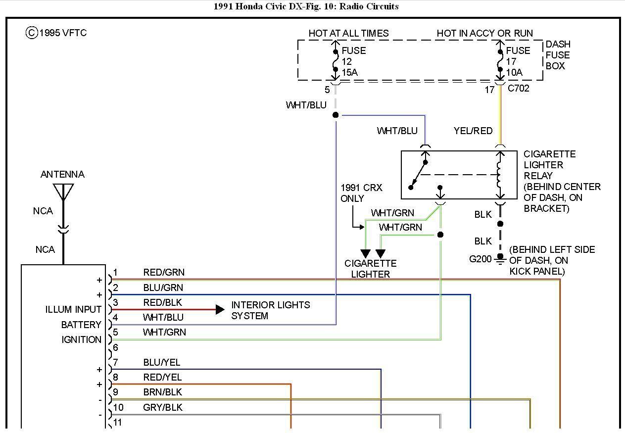 Wiring 1991 Honda Accord Radio Diagram Horns Emergency Lively Stereo